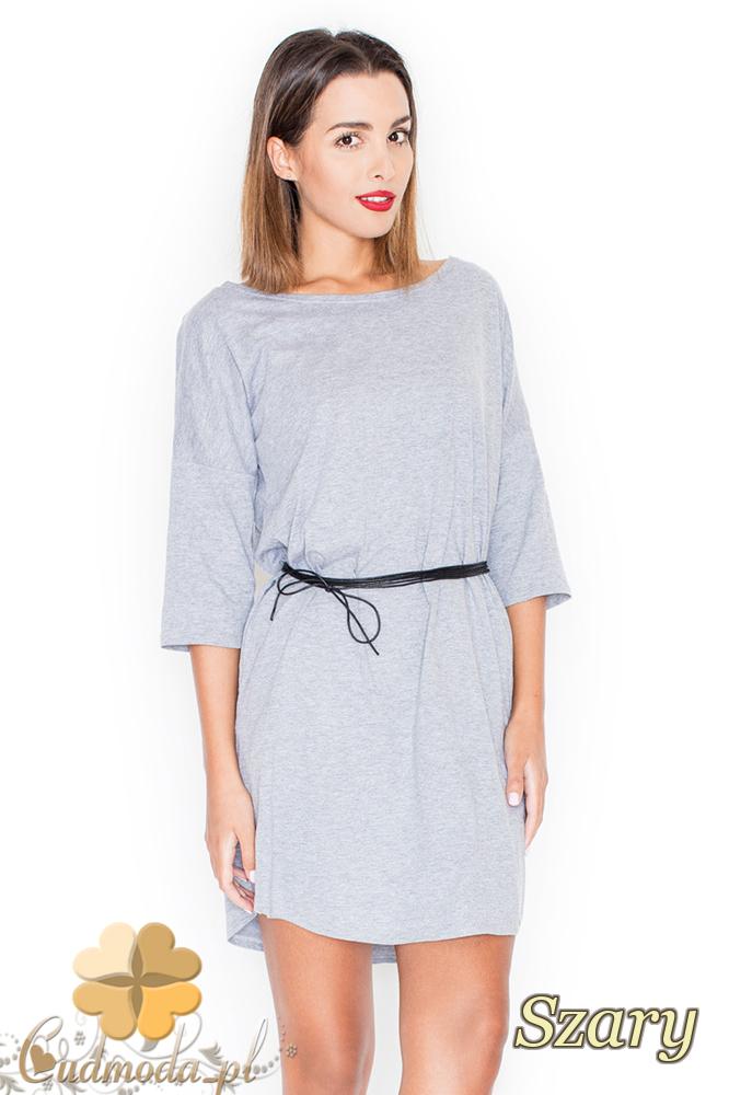 CM2208 Bawełniana sukienka biurowa - szara