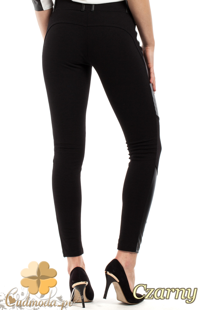 CM2228 Stylowe legginsy ze skórzanymi wstawkami - czarne