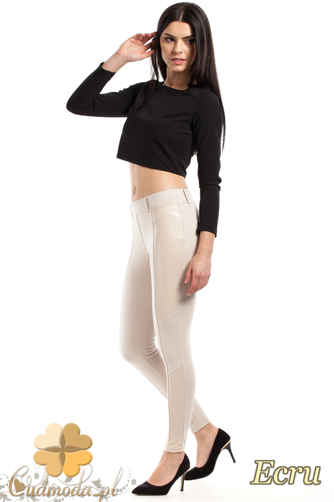 CM2228 Stylowe legginsy ze skórzanymi wstawkami - ecru