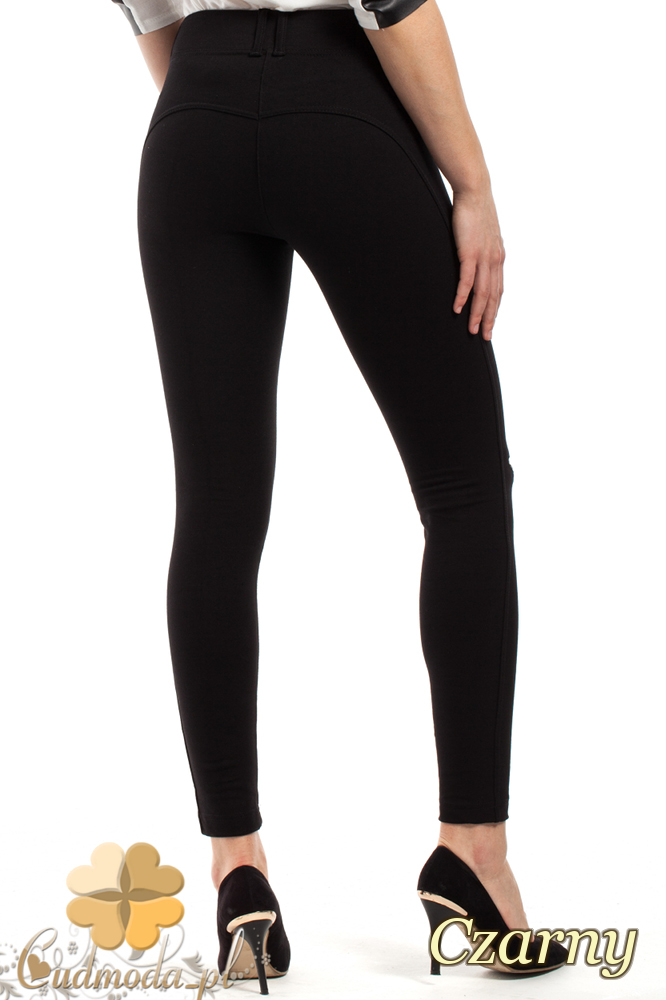 CM2229 Modne spodnie damskie z zamkami - czarne