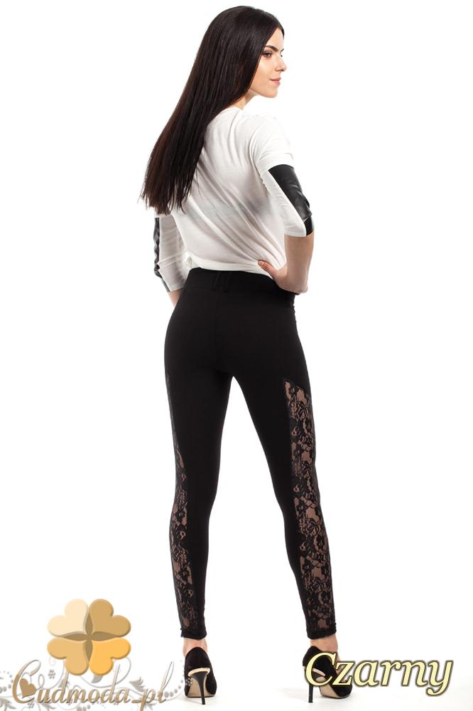CM2230 Kobiece legginsy z koronkową wstawką na nogawce - czarne