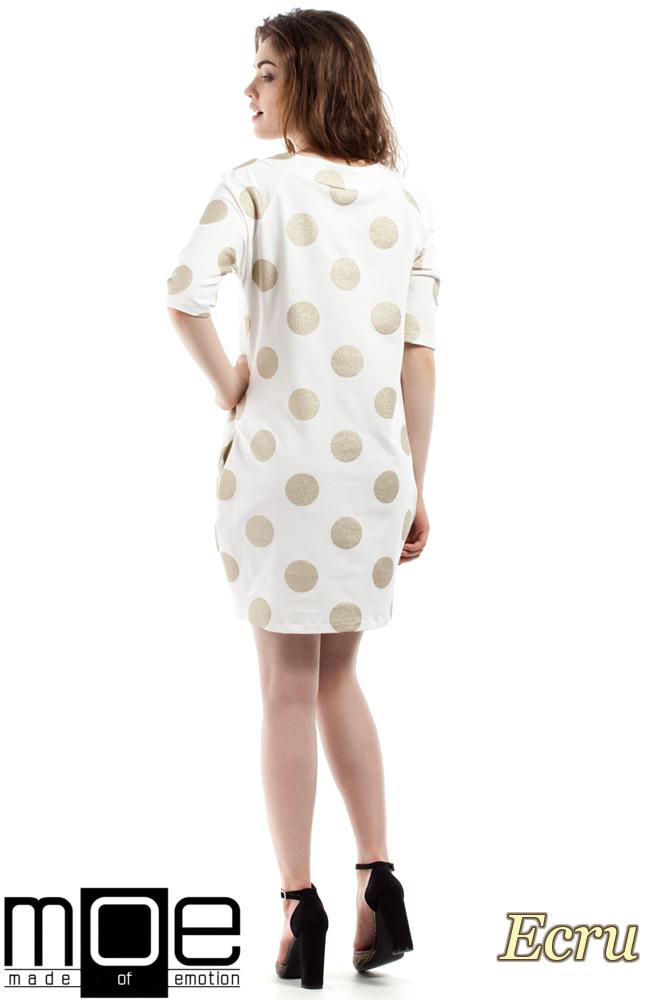 CM2211 Luźna sukienka w brokatowe koła - ecru