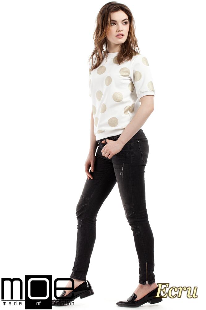 CM2213 Dresowa bluzka damska w brokatowe koła - ecru