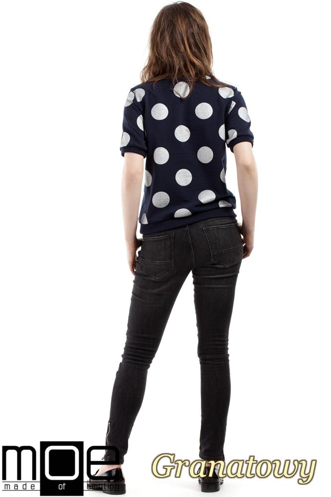 CM2213 Dresowa bluzka damska w brokatowe koła - granatowa