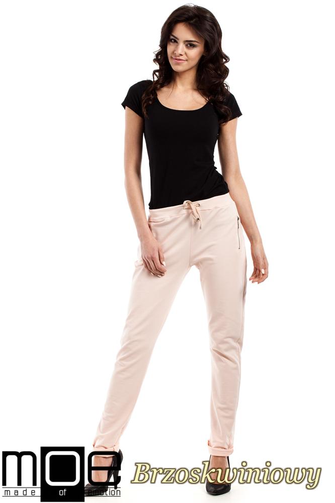 CM2210 Nowoczesne dresowe spodnie damskie - brzoskwiniowe