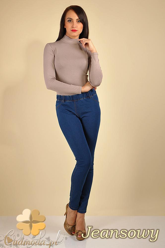 CM0173 Włoskie legginsy jeansowe z zameczkami - jeans OUTLET