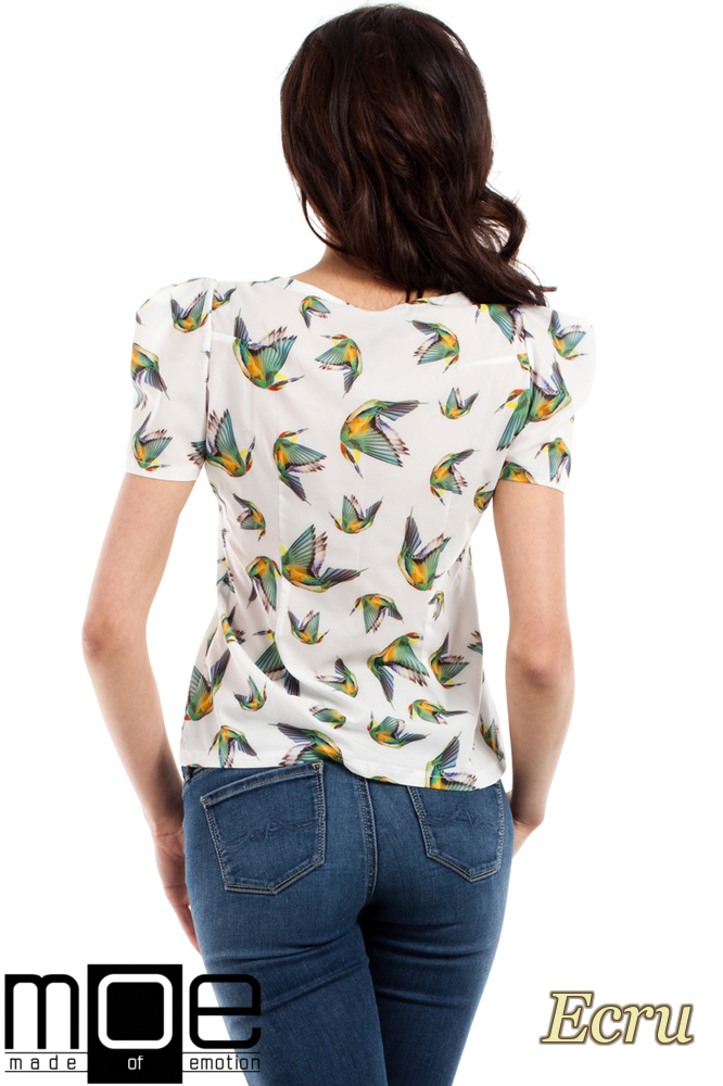 CM2223 Damska koszulka w kolibry - ecru