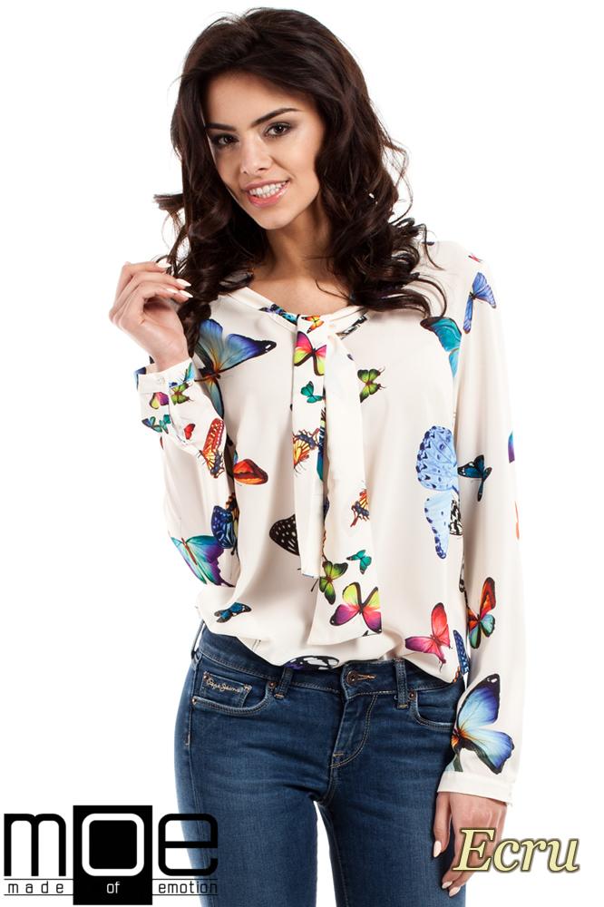 CM2225 Bluzka koszulowa z plisą w motyle - ecru