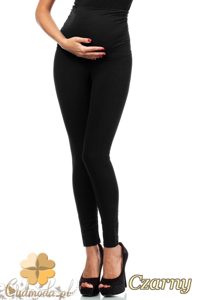 CM2235 Ciążowe spodnie legginsy z elastycznym pasem - czarne