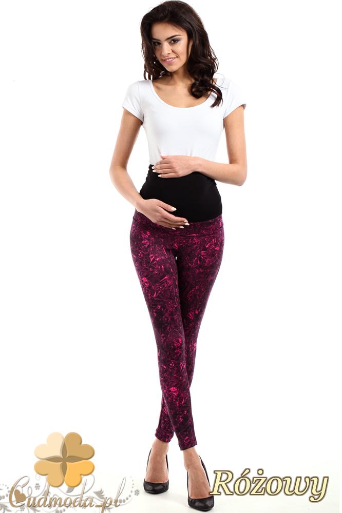 CM2233 Gładkie sportowe legginsy ciążowe - różowe