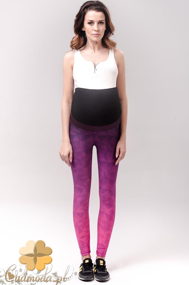 CM2234 Dopasowane sportowe legginsy ciążowe - różowe