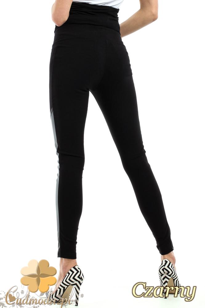 CM2236 Nowoczesne legginsy ciążowe ze skórzanymi wstawkami - czarne