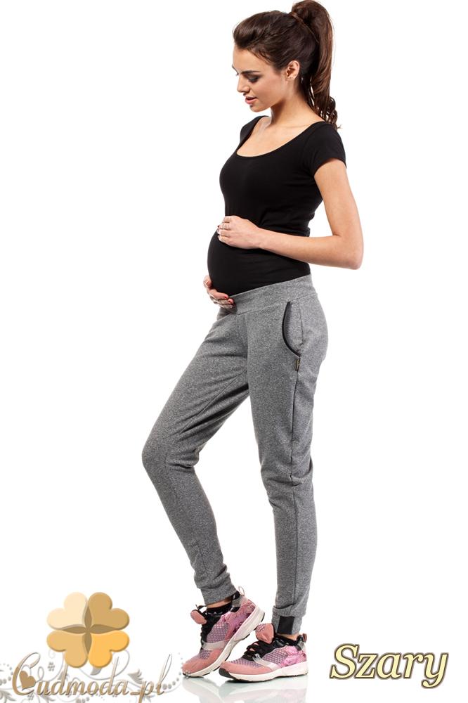 CM2237 Dresowe sportowe spodnie ciążowe - szare