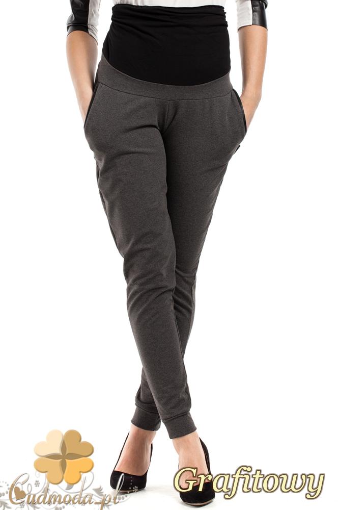 CM2044 Elastyczne legginsy ciążowe - grafitowe