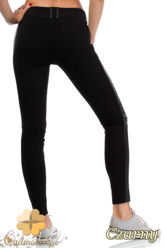 CM1912 Stylowe legginsy damskie ze skórzanymi wstawkami - czarne