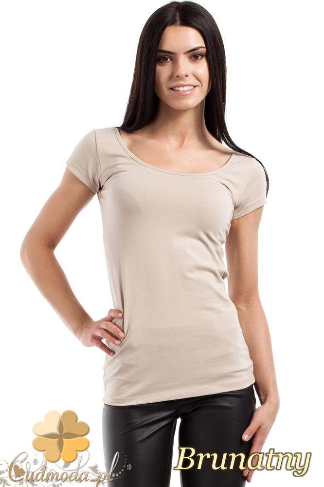 CM0281 Elastyczna gładka bluzeczka - brunatna