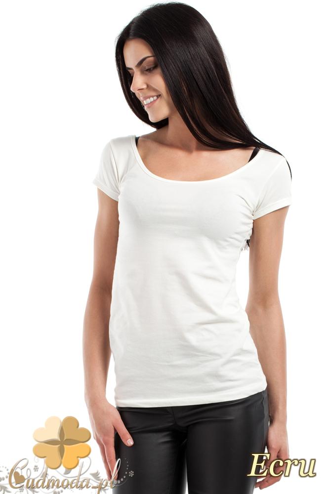 CM0281 Elastyczna gładka bluzeczka - ecru