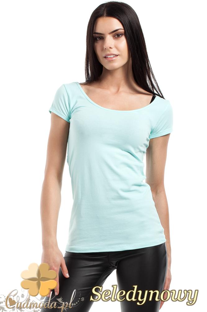 CM0281 Elastyczna gładka bluzeczka - seledynowa