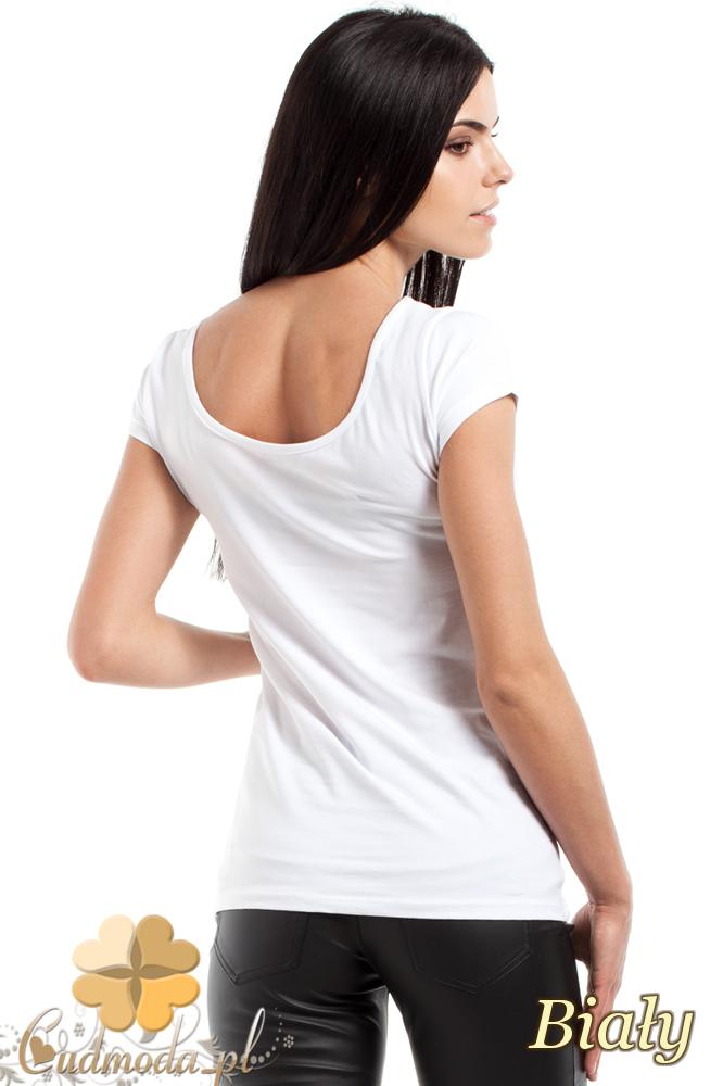 CM0281 Elastyczna gładka bluzeczka - biała