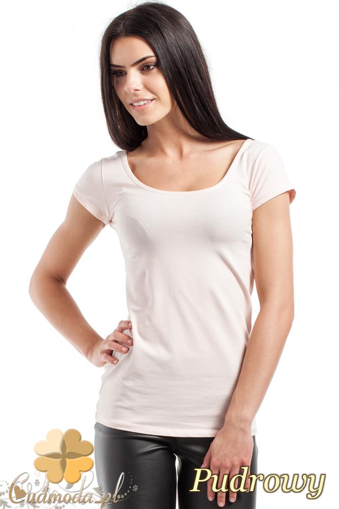 CM0281 Elastyczna gładka bluzeczka - pudrowa