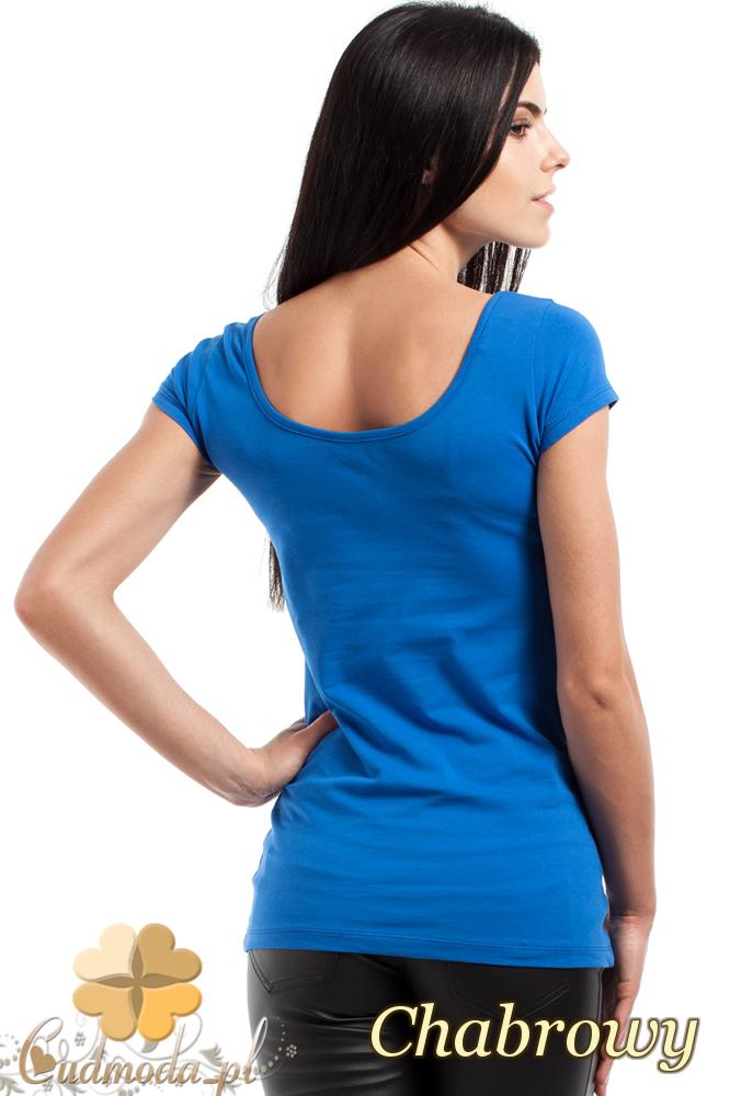 CM0281 Elastyczna gładka bluzeczka - chabrowy