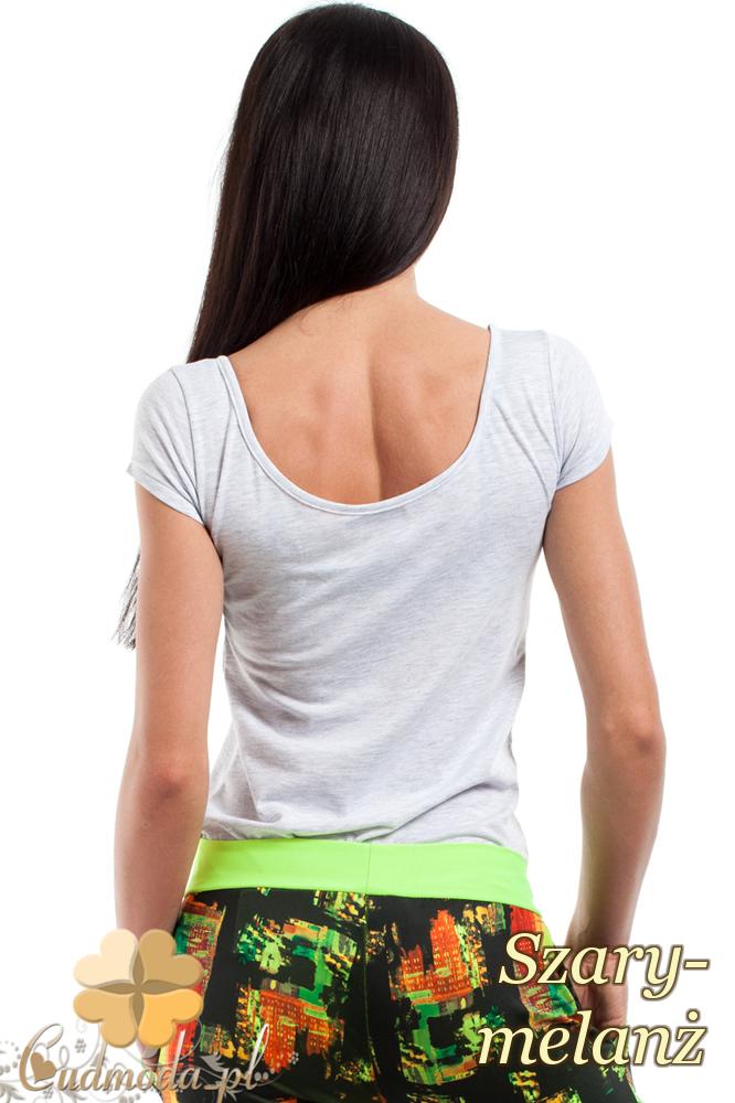 CM0281 Elastyczna gładka bluzeczka - szary melanż