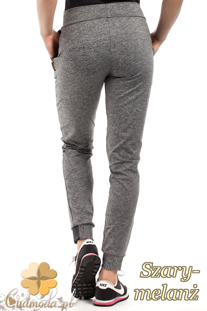CM2232 Sportowe spodnie damskie z kieszeniami - szary-melanż