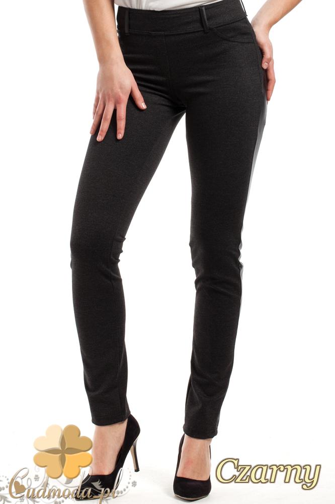 CM2241 Nowoczesne legginsy ze skórzanym lampasem - czarne