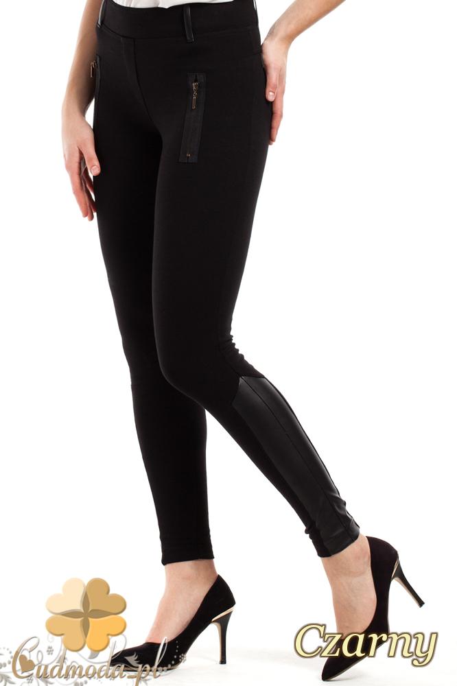 CM2242 Elastyczne legginsy ze skórzanymi wstawkami - czarne