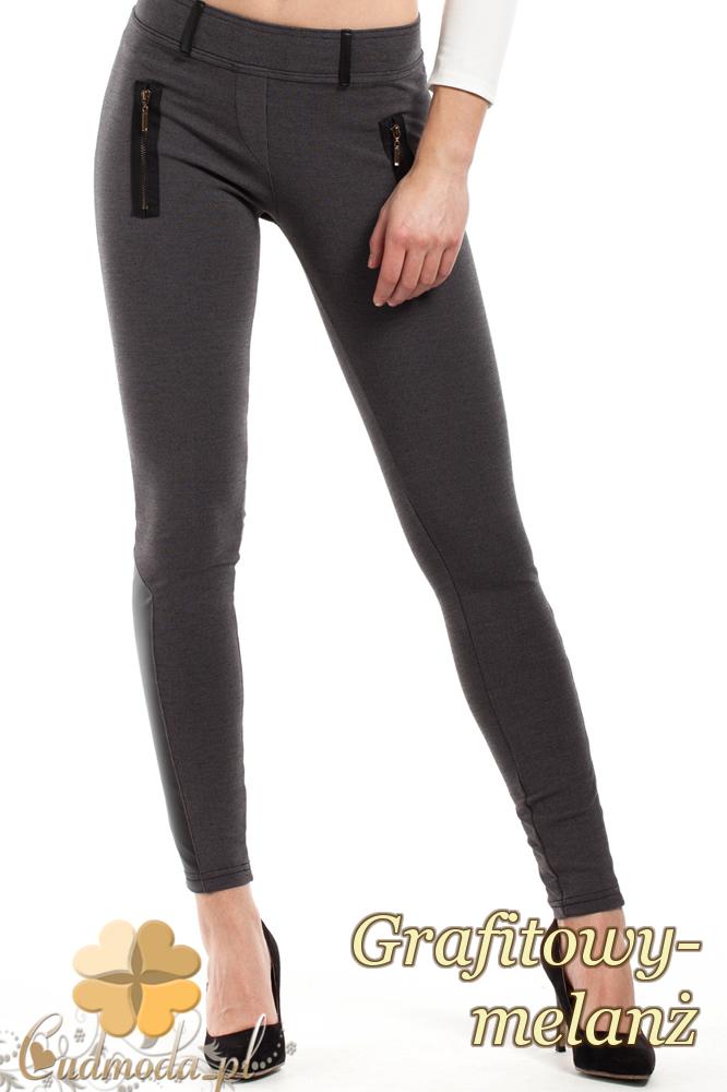 CM2242 Elastyczne legginsy ze skórzanymi lampasami - grafitowy-melanż