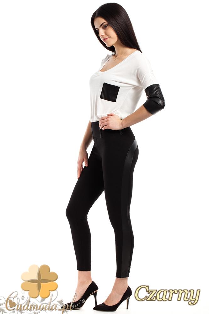 CM2243 Nowoczesne spodnie rurki z lampasem - czarne