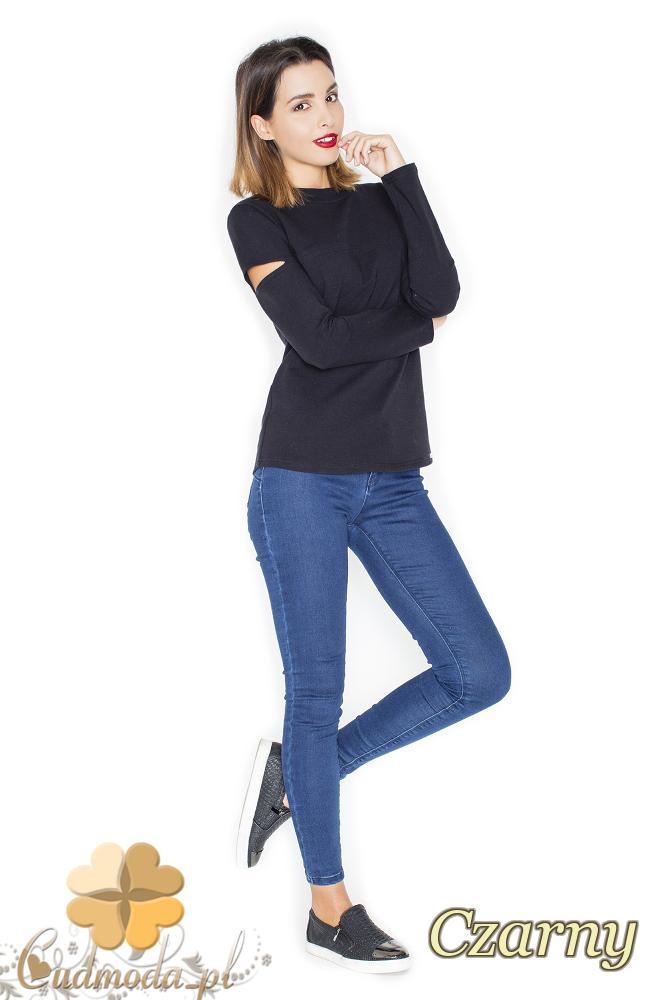 CM2246 Bluzka damska z rozcięciami na ramionach - czarna