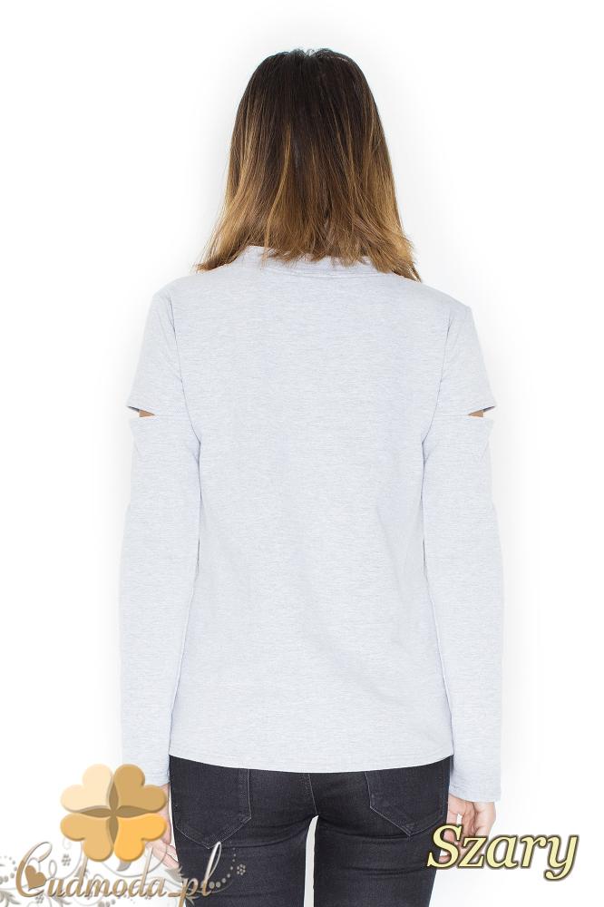CM2246 Bluzka damska z rozcięciami na ramionach - szara