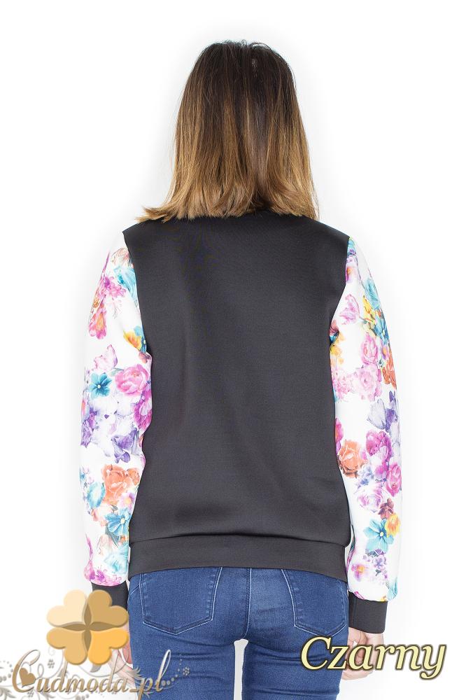 CM2247 Piankowa kurtka z rękawami w kwiaty - czarna
