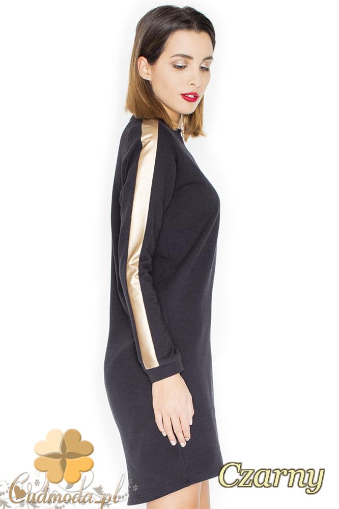 CM2248 Sukienka mini ze złotymi pasami - czarna