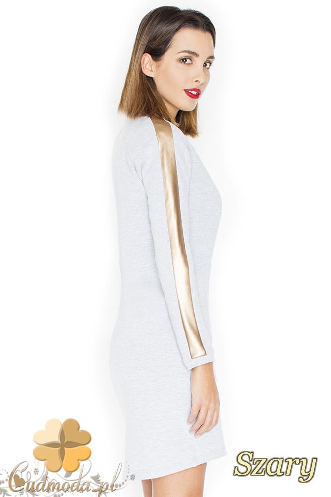 CM2248 Sukienka mini ze złotymi pasami - szara