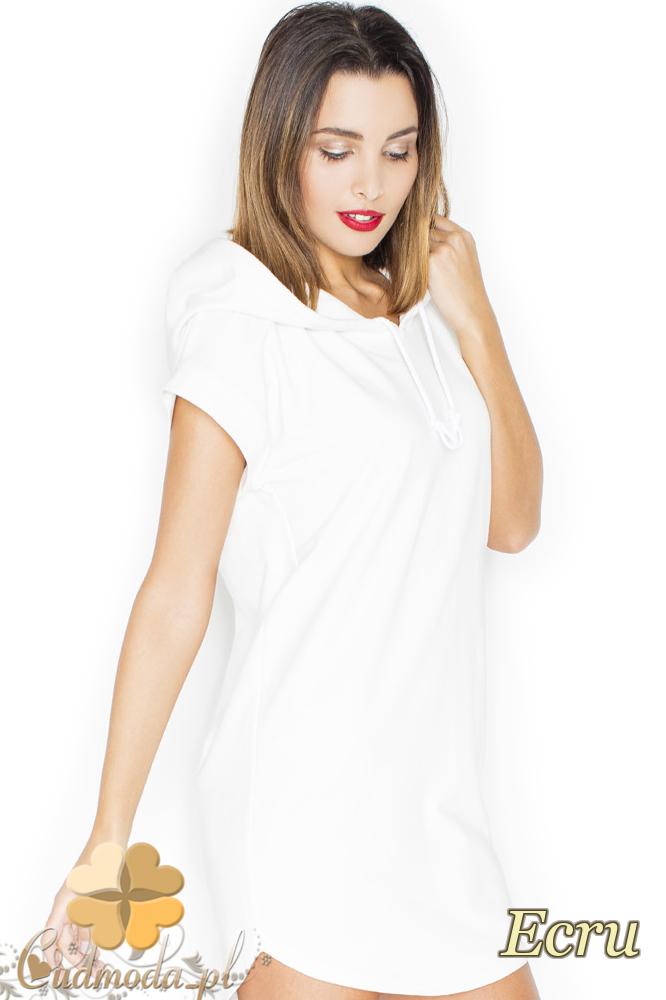 CM2249 Dresowa sukienka mini z kapturem - ecru