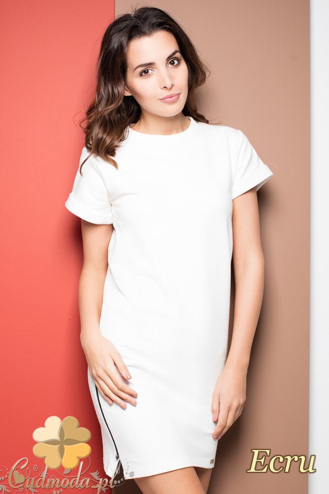 CM2254 Biurowa sukienka ołówkowa - ecru
