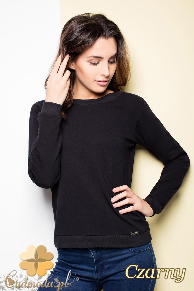 CM2255 Zwiewna bluzka damska z kokardą na plecach - czarna