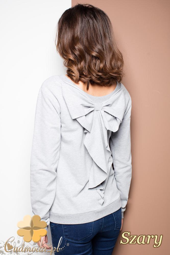 CM2255 Zwiewna bluzka damska z kokardą na plecach - szara