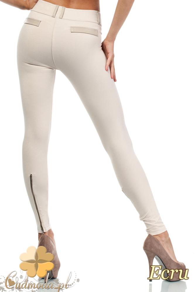 CM0681 Legginsy z zamkami z tyłu nogawek i skórzanymi wstawkami - ecru