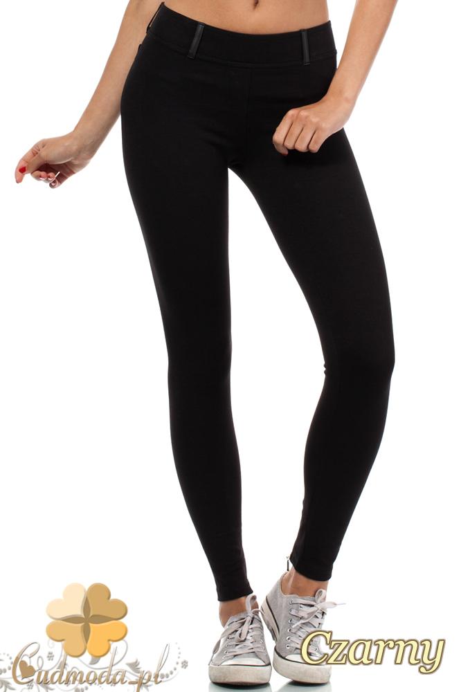 CM0681 Legginsy z zamkami z tyłu nogawek i skórzanymi wstawkami - czarne