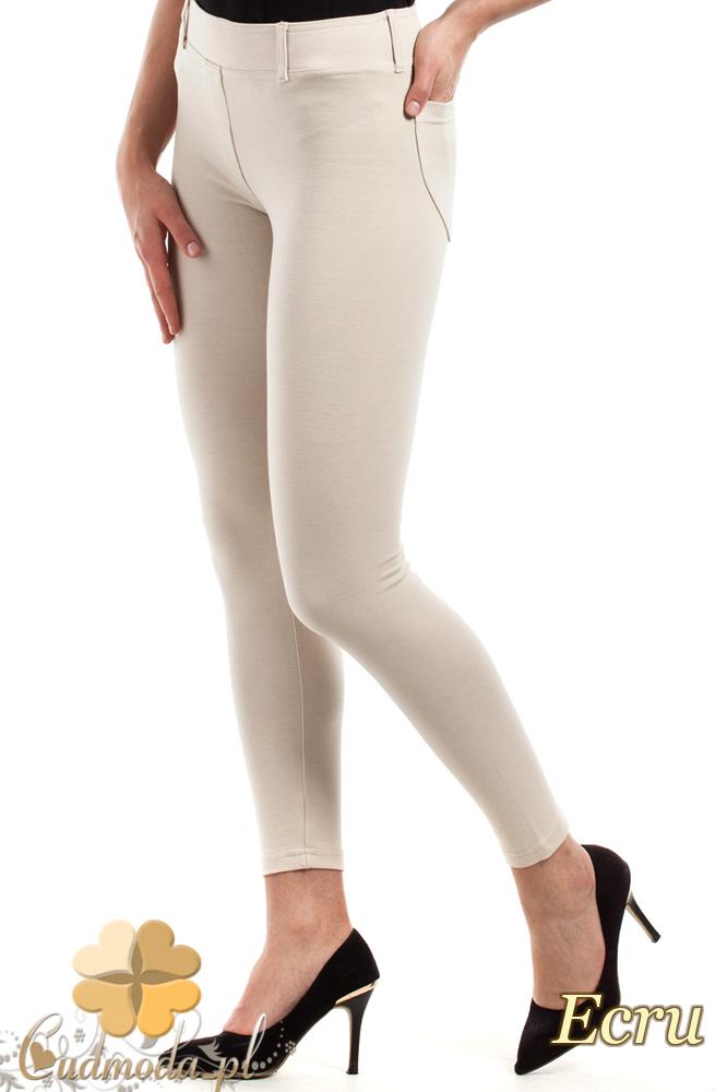 CM0034 Włoskie klasyczne getry legginsy z kieszeniami - ecru