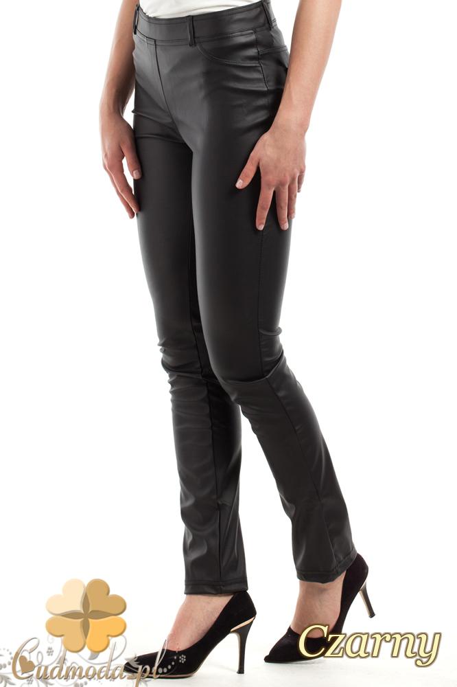 CM0306 Spodnie rurki z matowej skóry - czarne