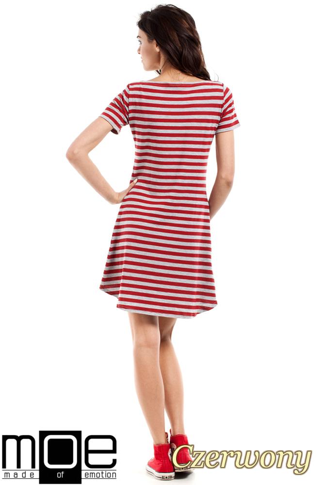 CM1551 Asymetryczna dopasowana tunika damska - czerwona