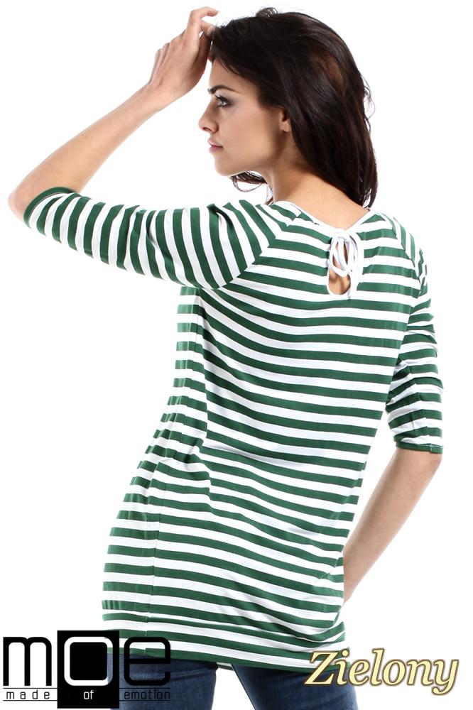 CM1554 Damska bluzka z wiązaniem z tyłu - zielona