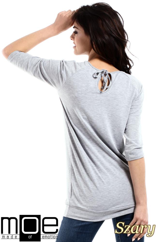 CM1554 Damska bluzka z wiązaniem z tyłu - szara