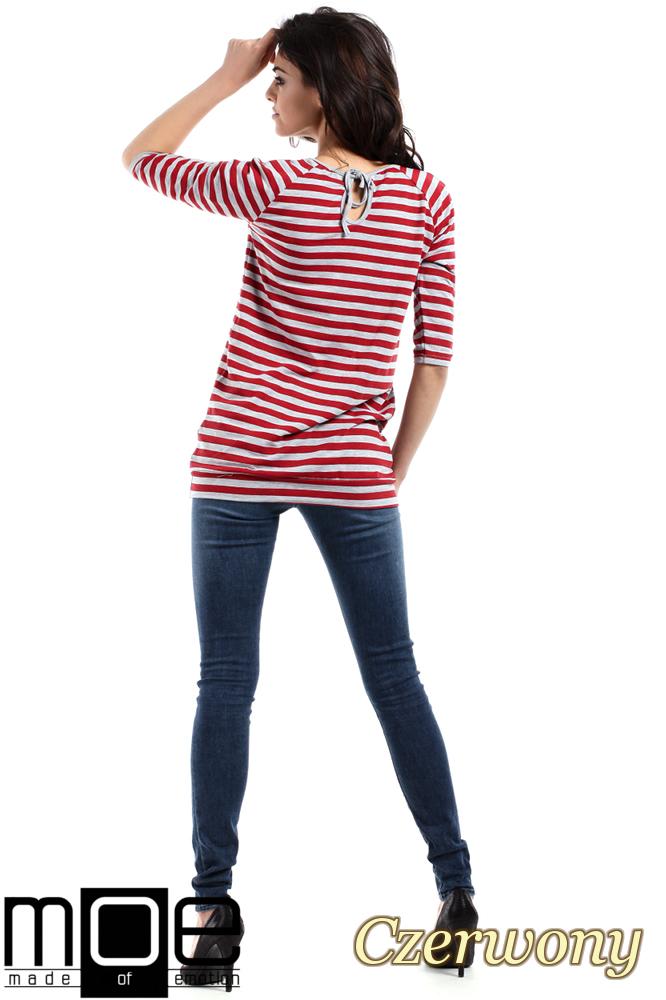 CM1554 Damska bluzka z wiązaniem z tyłu - czerwona