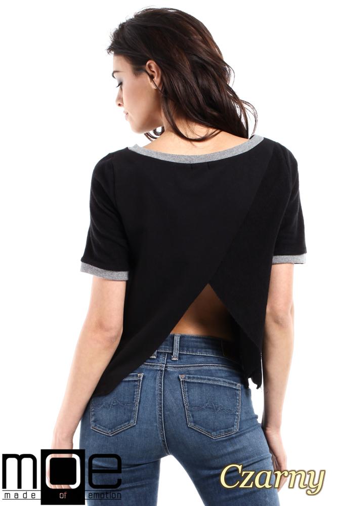 CM1557 Modna bluzka damska z zakładką na plecach - czarna