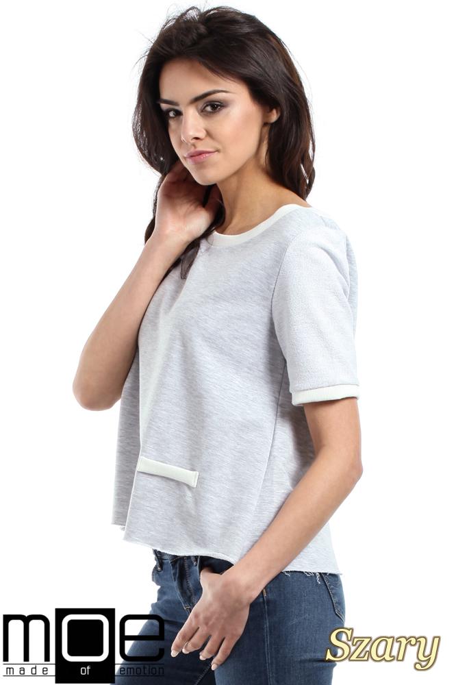 CM1557 Modna bluzka damska z zakładką na plecach - szara